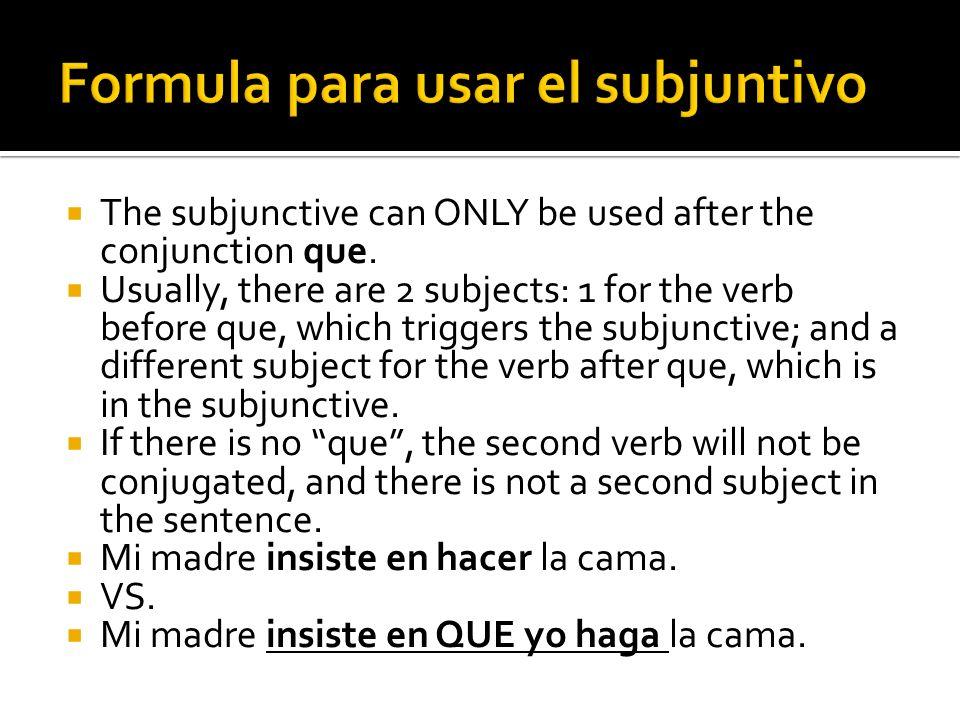 Formula para usar el subjuntivo