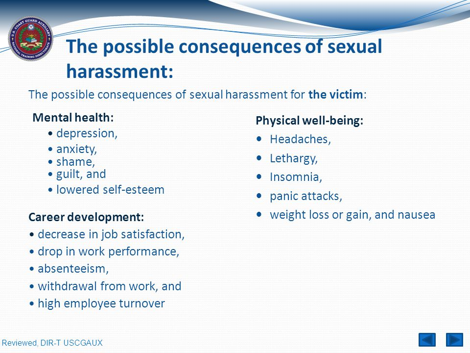 The possible consequences of sexual harassment for the victim: