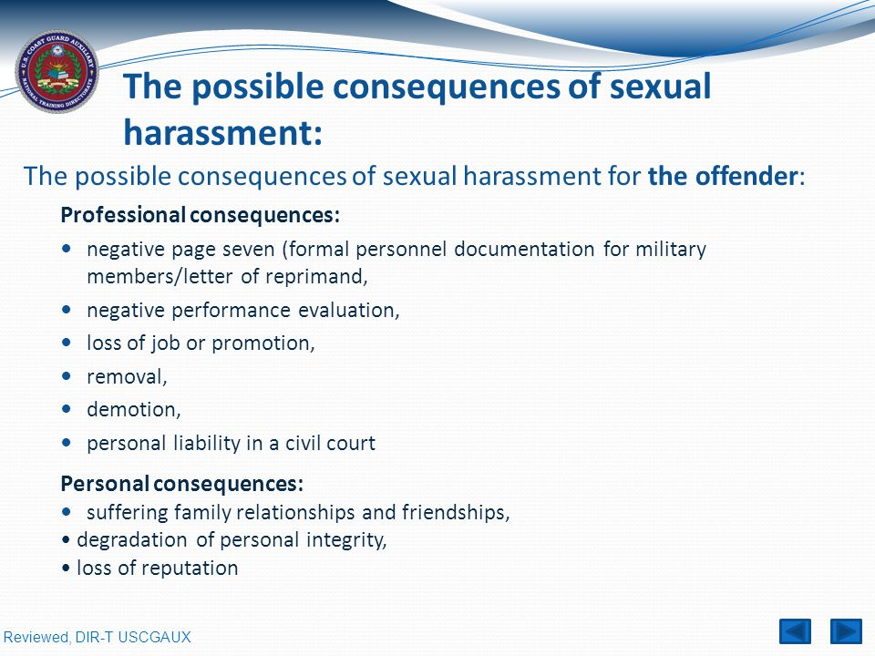 The possible consequences of sexual harassment for the offender: