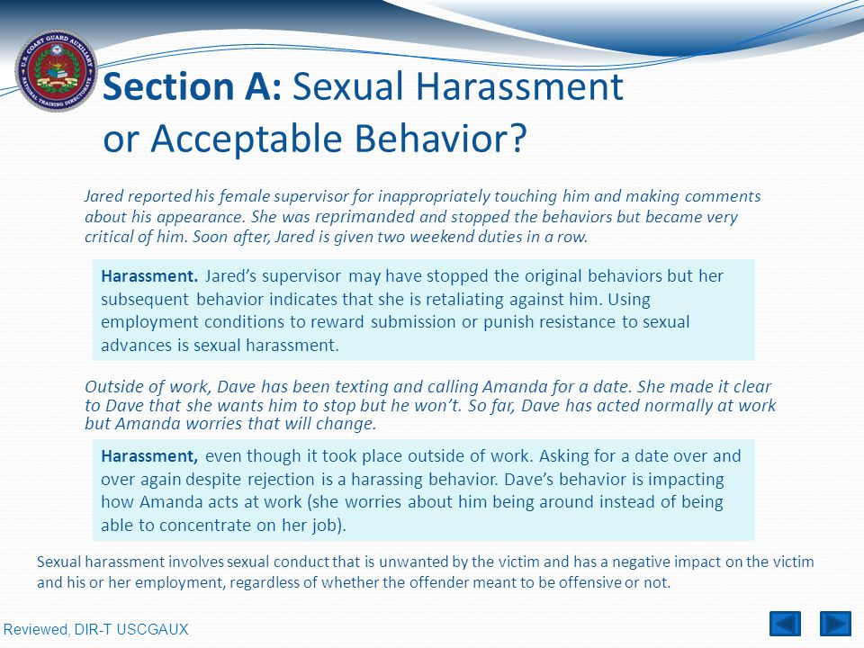 Section A: Sexual Harassment or Acceptable Behavior