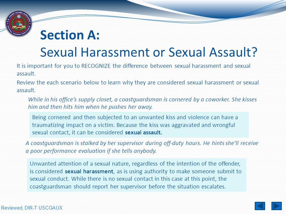 Section A: Sexual Harassment or Sexual Assault