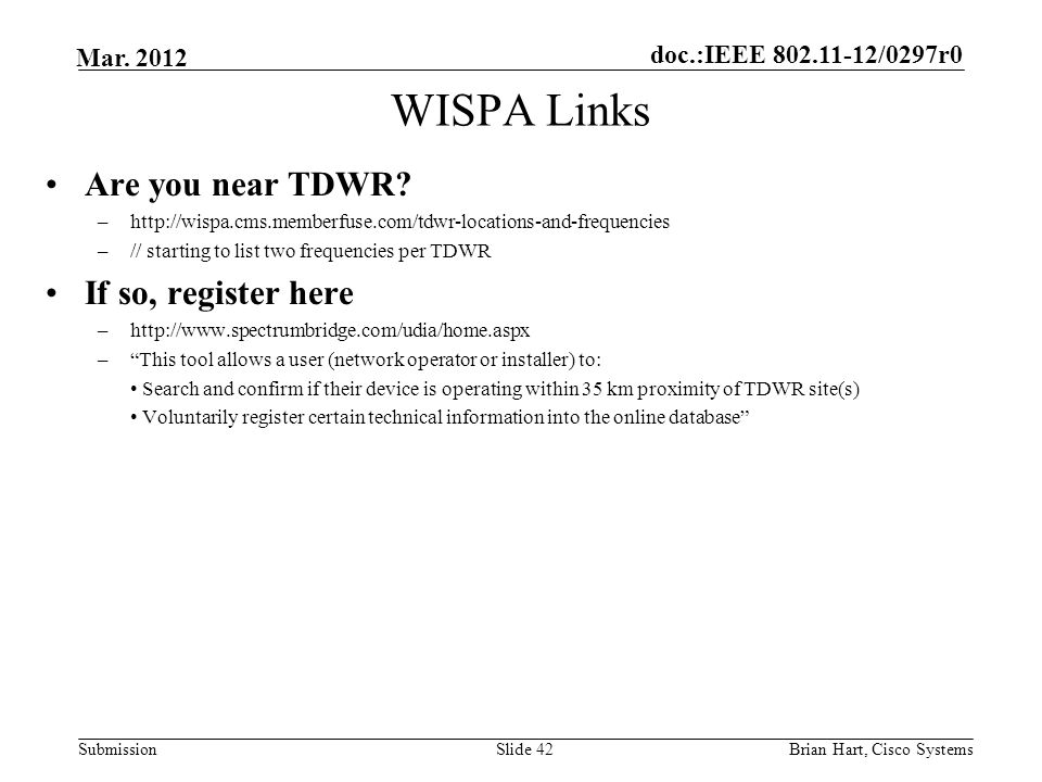 WISPA Links Are you near TDWR If so, register here