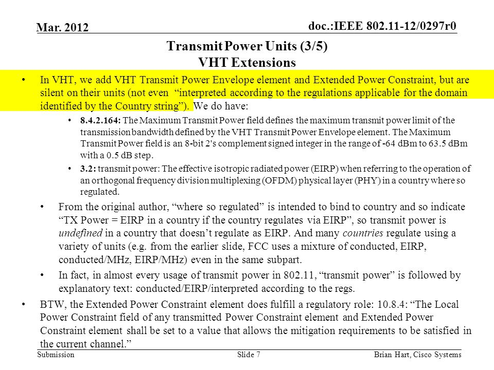 Transmit Power Units (3/5) VHT Extensions