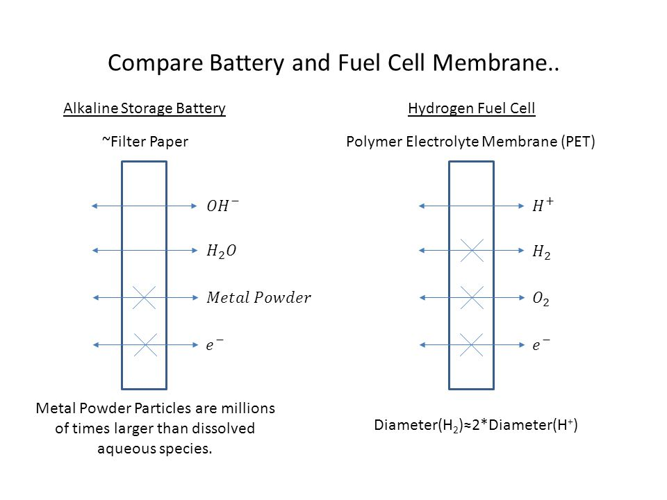 Compare Battery and Fuel Cell Membrane..