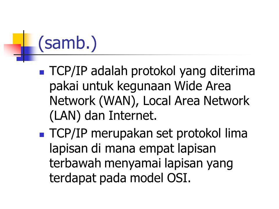 (samb.) TCP/IP adalah protokol yang diterima pakai untuk kegunaan Wide Area Network (WAN), Local Area Network (LAN) dan Internet.