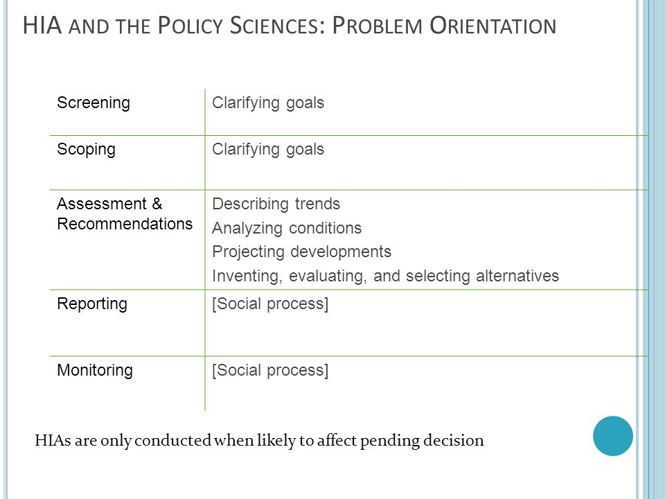HIA and the Policy Sciences: Problem Orientation