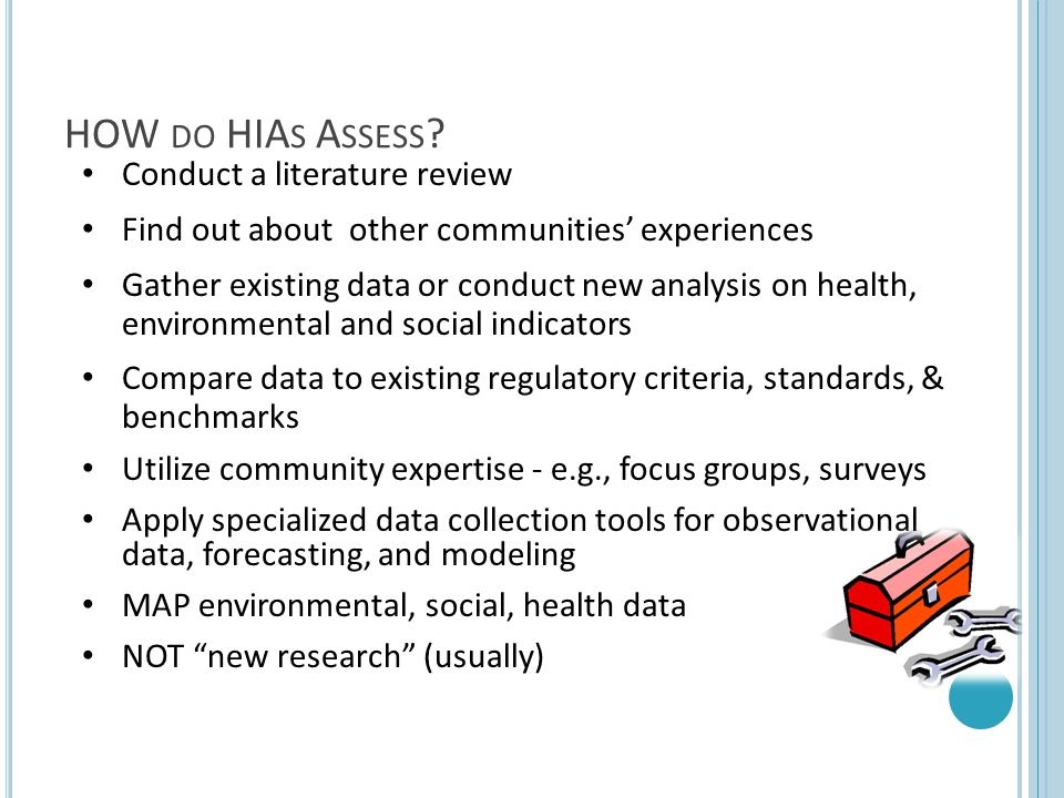 HOW do HIAs Assess Conduct a literature review