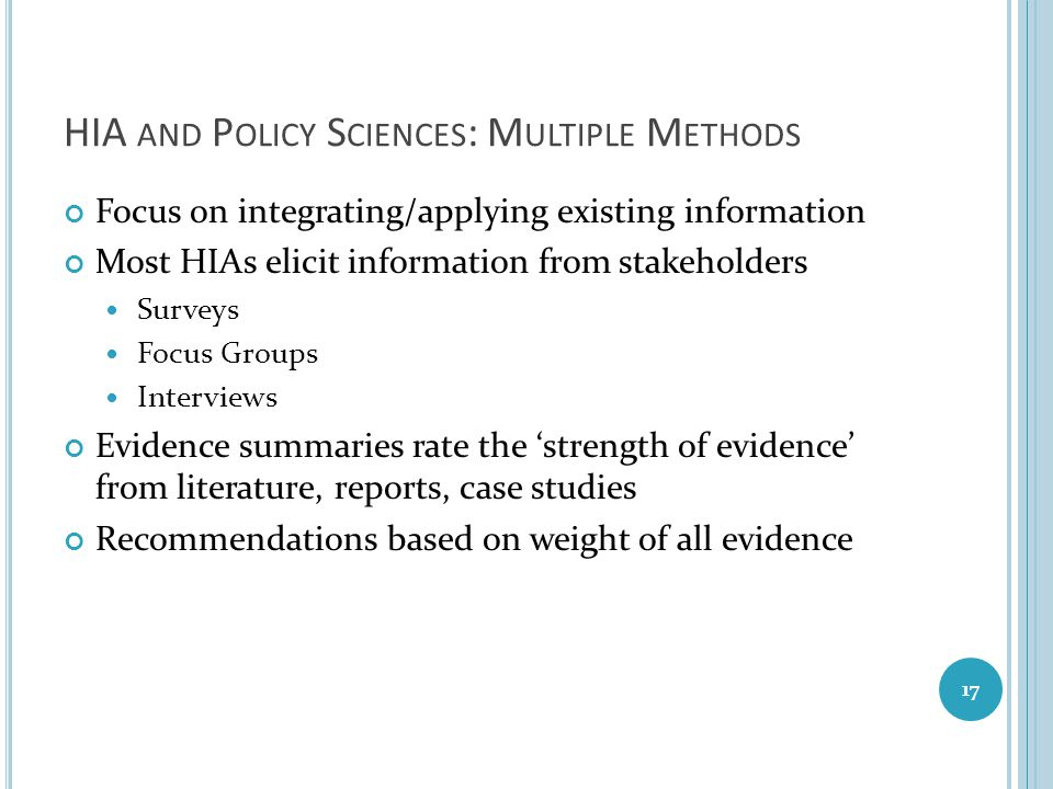 HIA and Policy Sciences: Multiple Methods