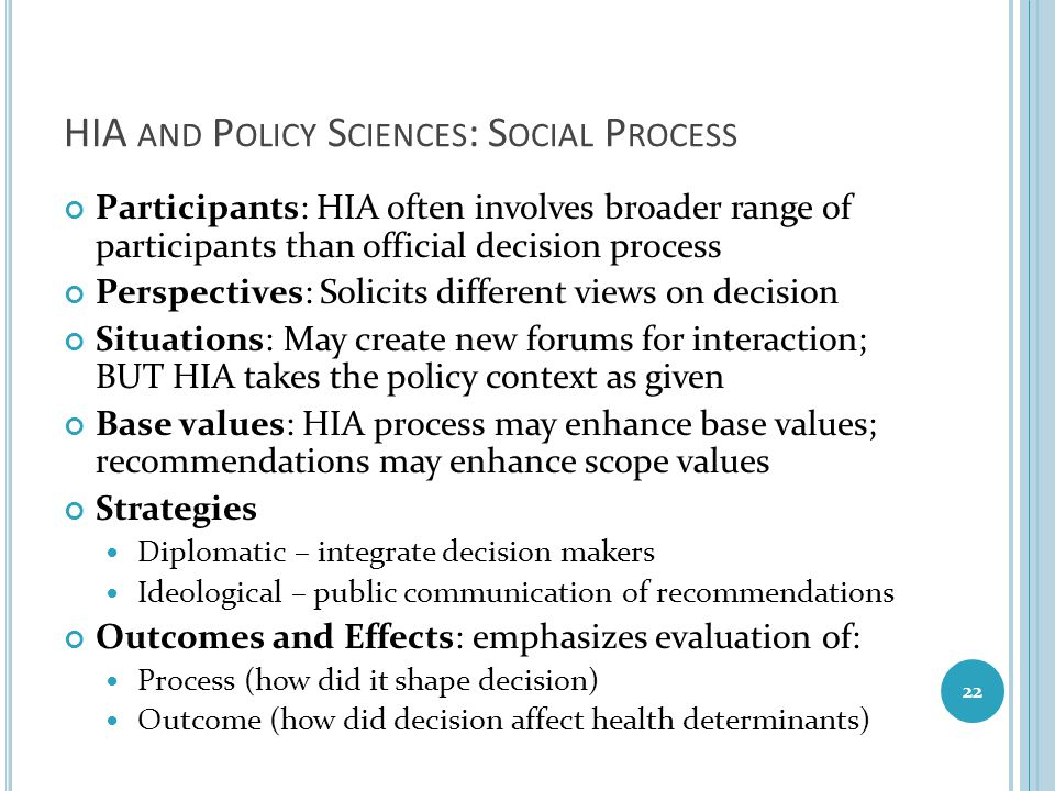 HIA and Policy Sciences: Social Process