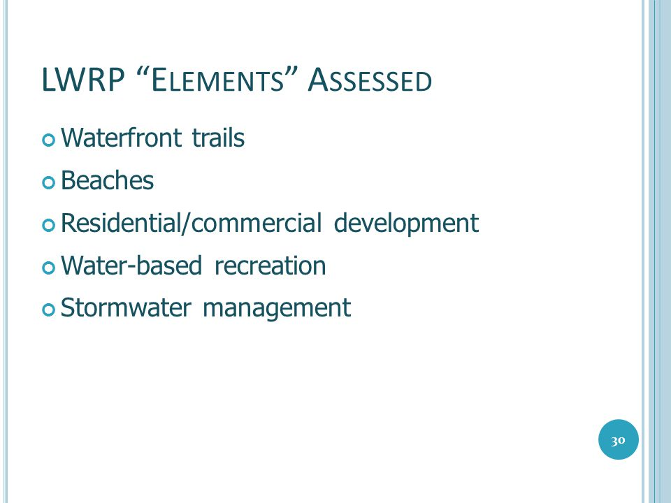 LWRP Elements Assessed