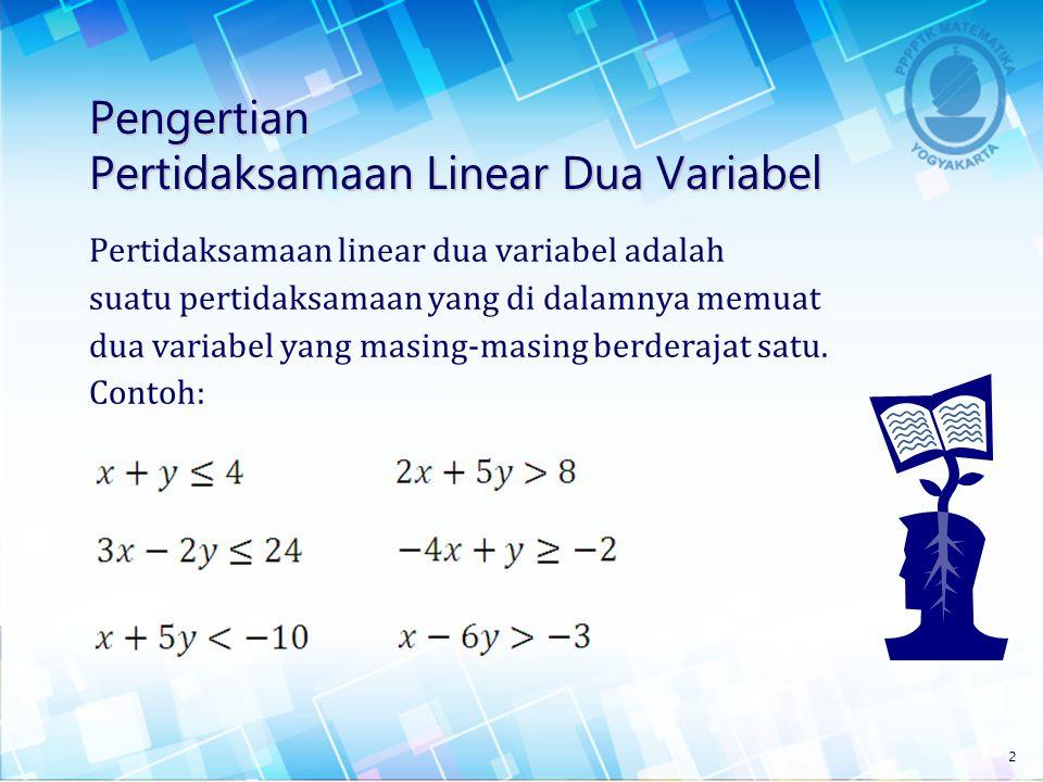 Pengertian Pertidaksamaan Linear Dua Variabel