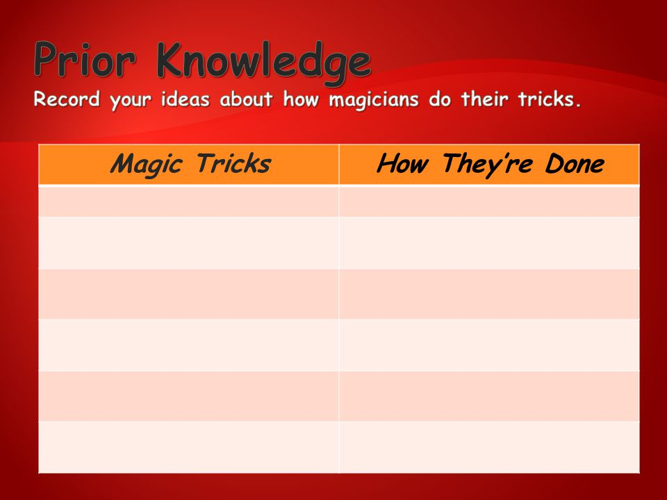 Prior Knowledge Record your ideas about how magicians do their tricks.