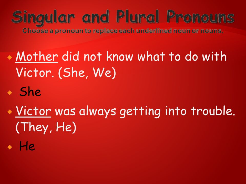 Singular and Plural Pronouns Choose a pronoun to replace each underlined noun or nouns.
