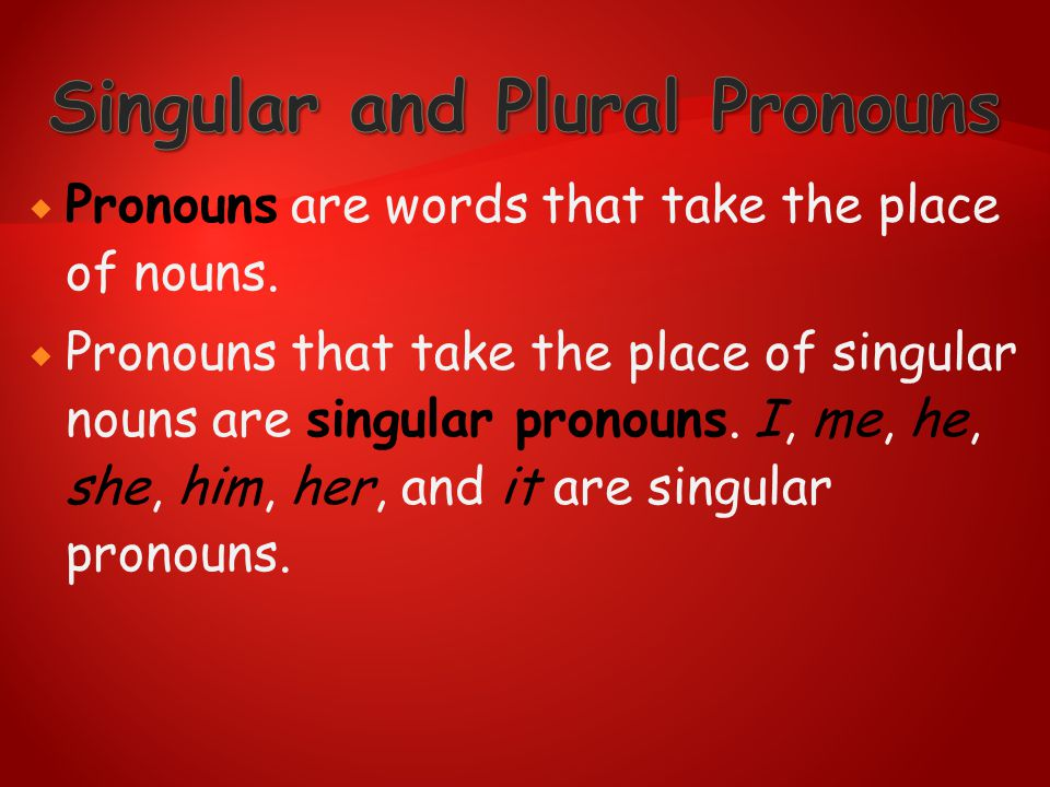 Singular and Plural Pronouns