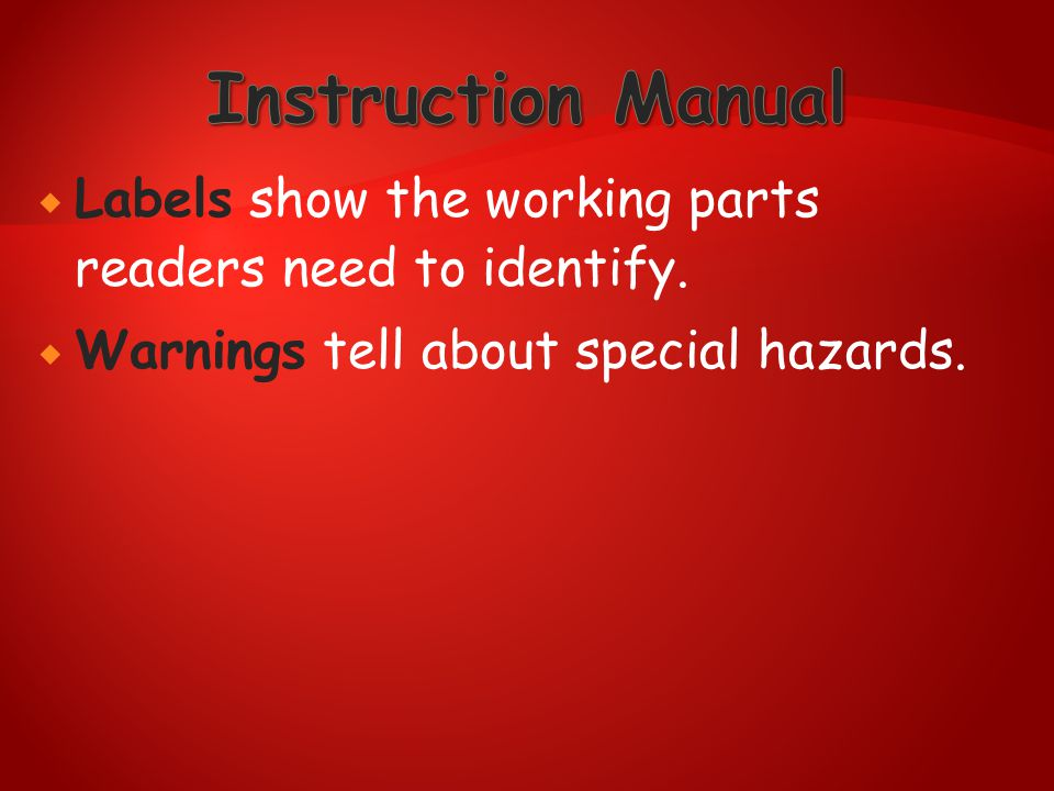 Instruction Manual Labels show the working parts readers need to identify.