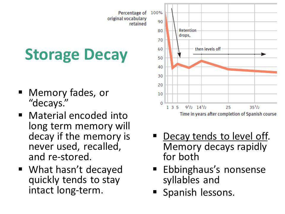 Storage Decay Memory fades, or decays.