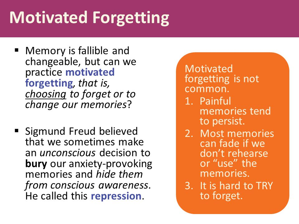 Motivated Forgetting