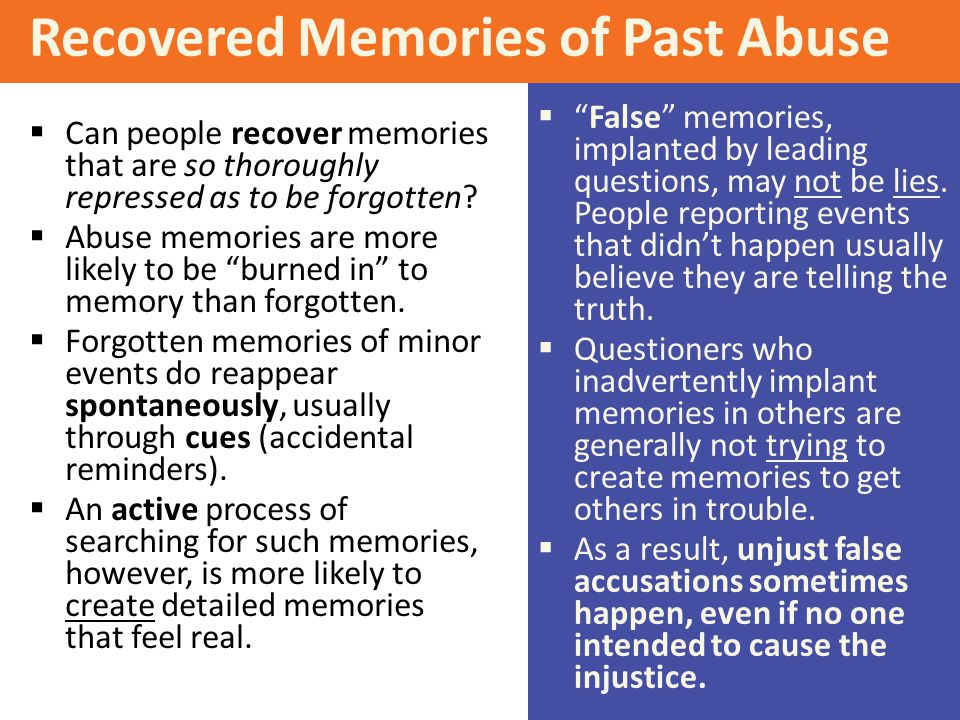 Recovered Memories of Past Abuse