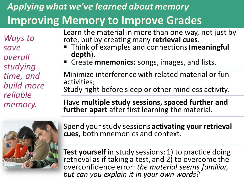Applying what we've learned about memory Improving Memory to Improve Grades