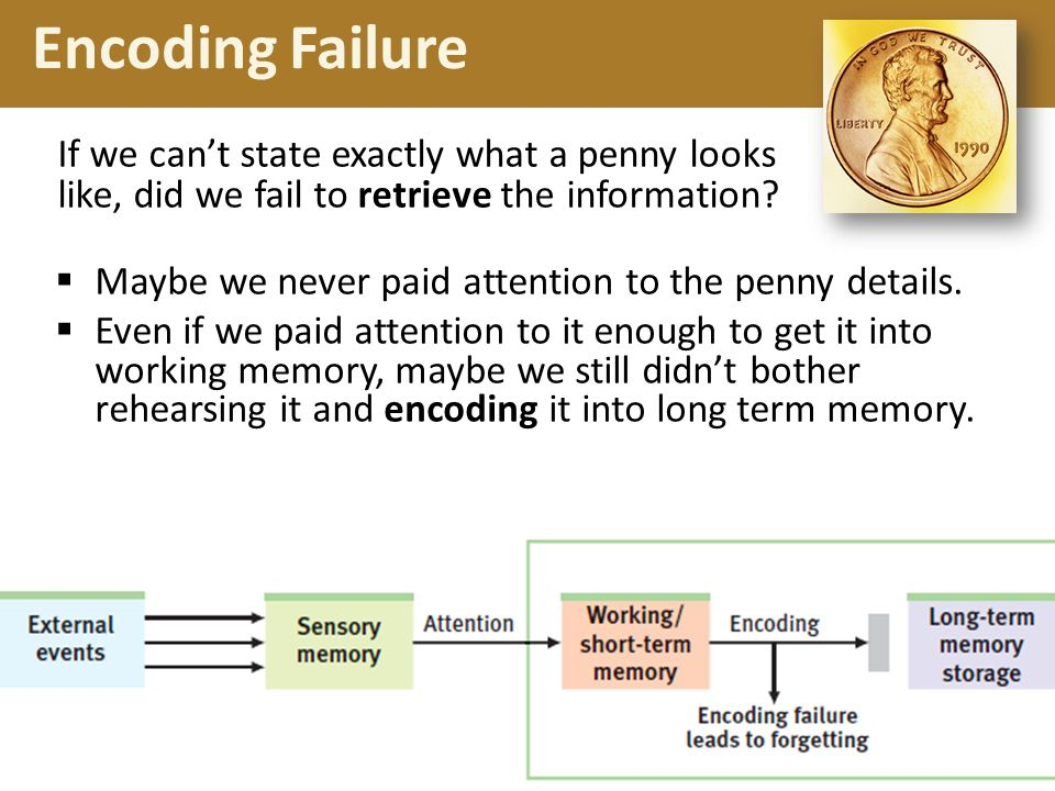 Encoding Failure If we can't state exactly what a penny looks like, did we fail to retrieve the information