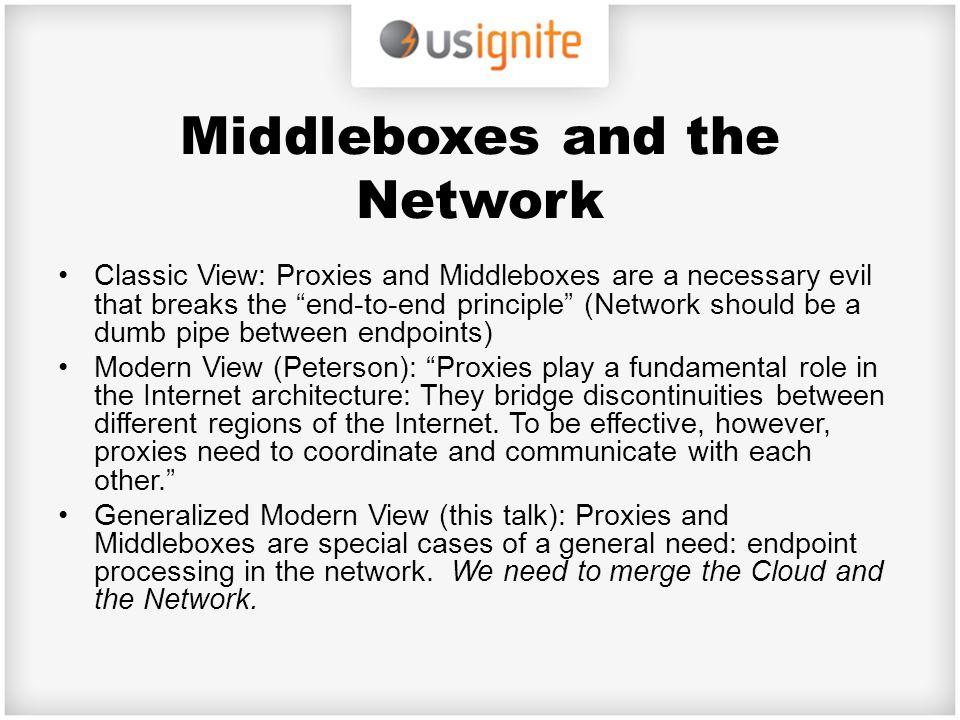 Middleboxes and the Network