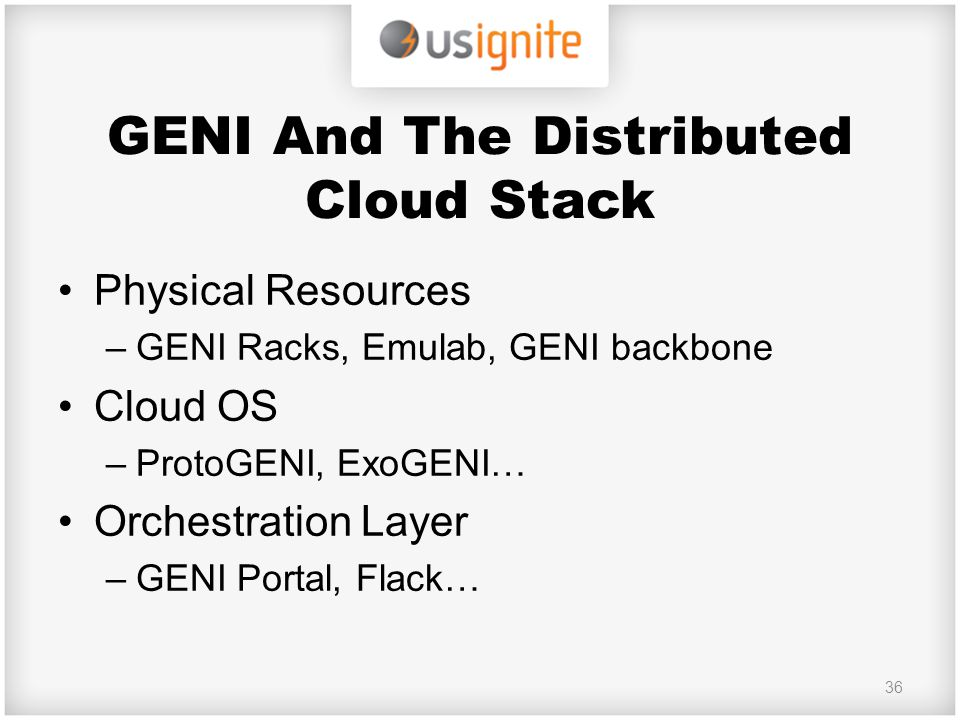 GENI And The Distributed Cloud Stack