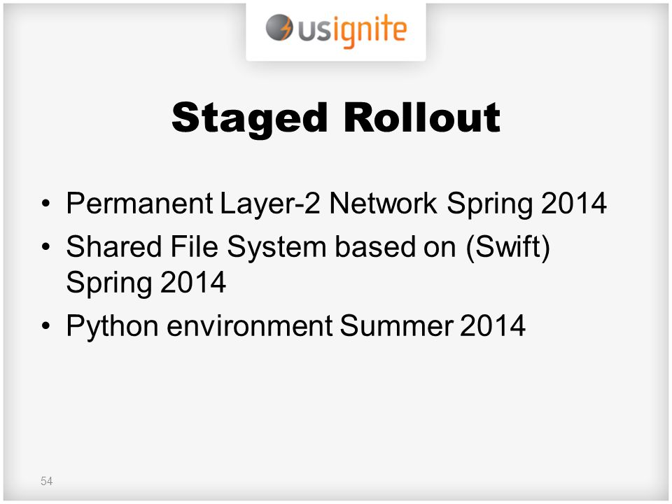 Staged Rollout Permanent Layer-2 Network Spring 2014