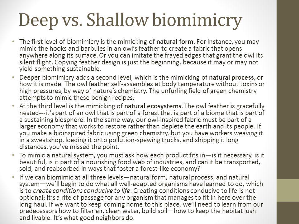 Deep vs. Shallow biomimicry