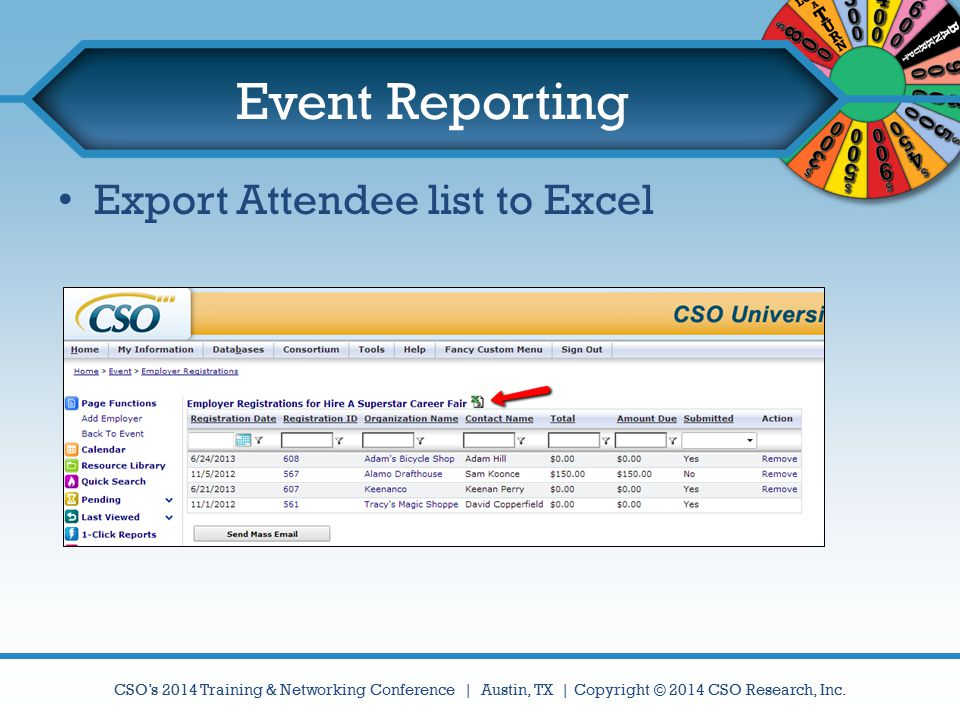 Event Reporting Export Attendee list to Excel
