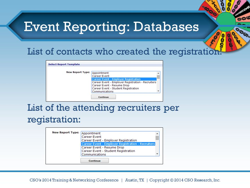 Event Reporting: Databases