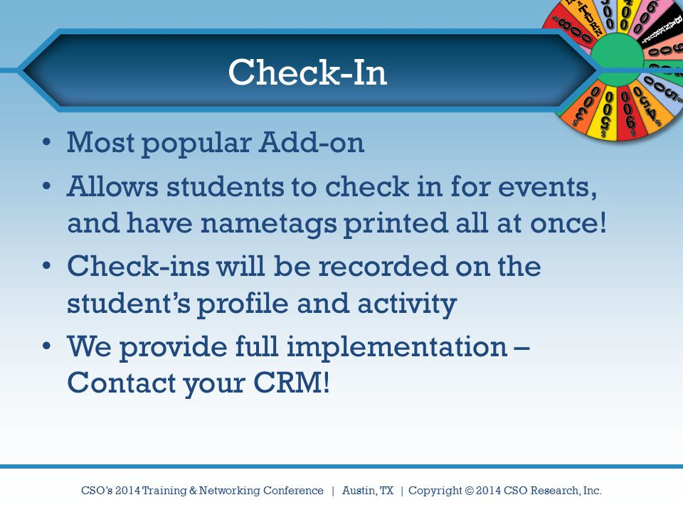 Check-In Most popular Add-on