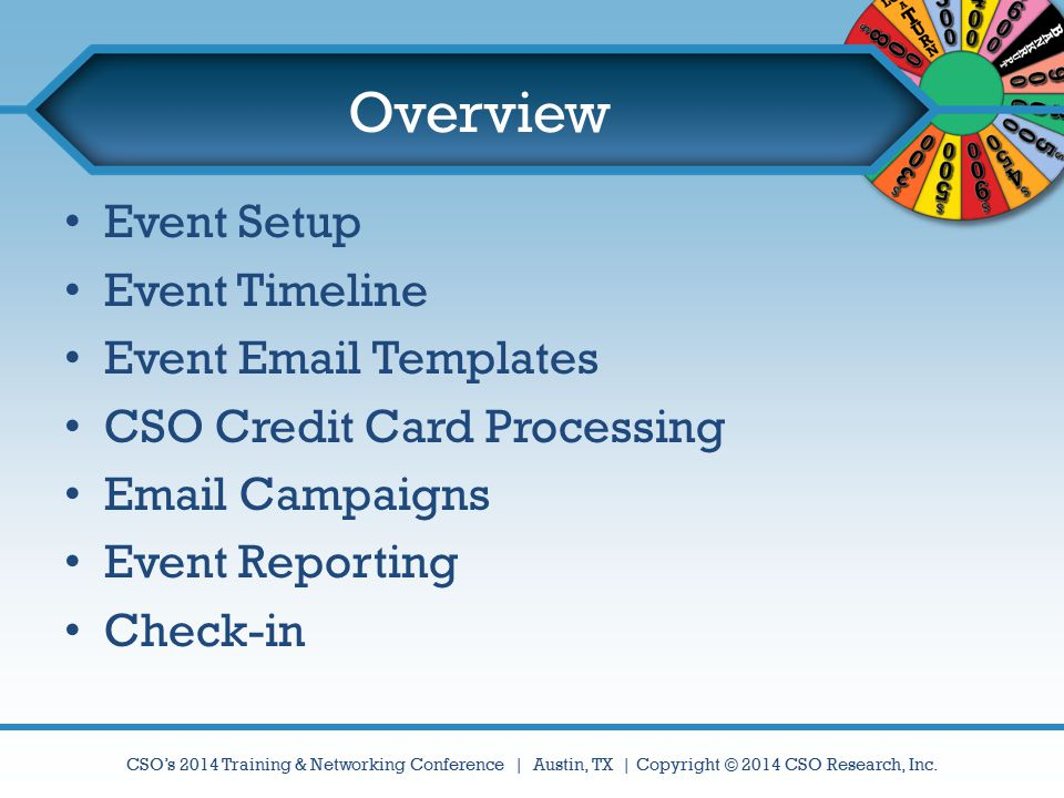 Overview Event Setup Event Timeline Event Email Templates