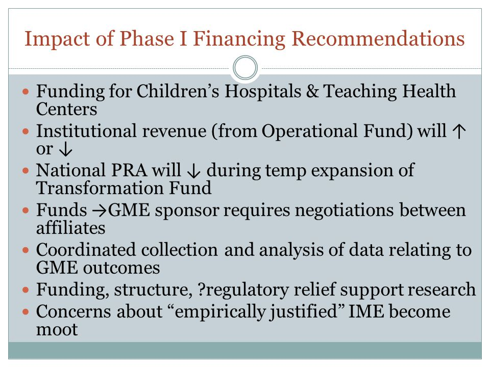 Impact of Phase I Financing Recommendations