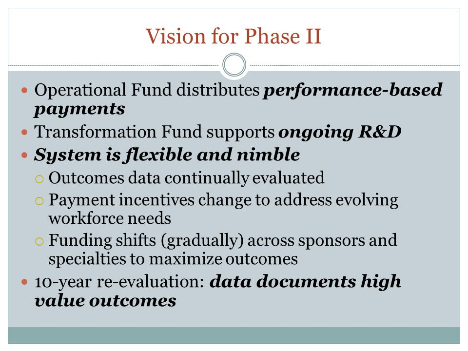 Vision for Phase II Operational Fund distributes performance-based payments. Transformation Fund supports ongoing R&D.