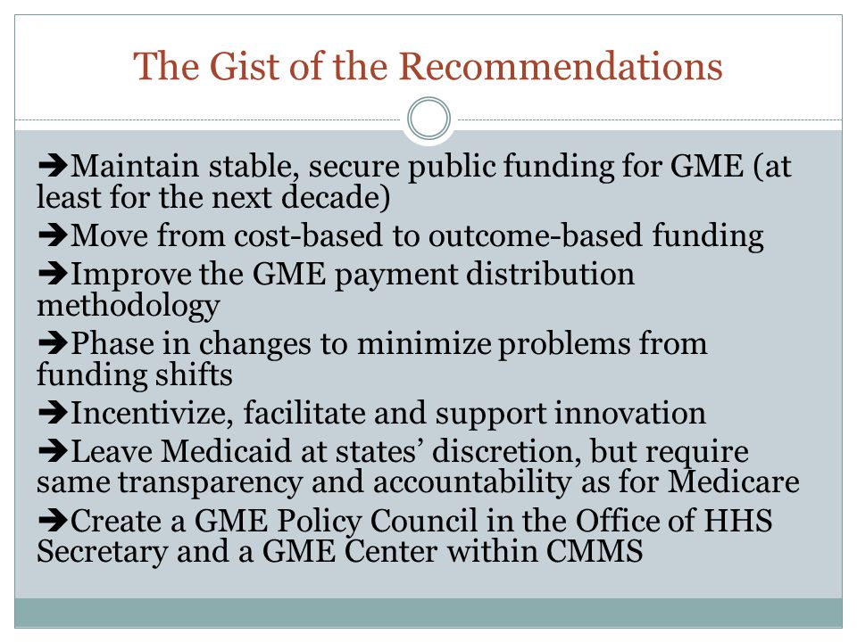 The Gist of the Recommendations