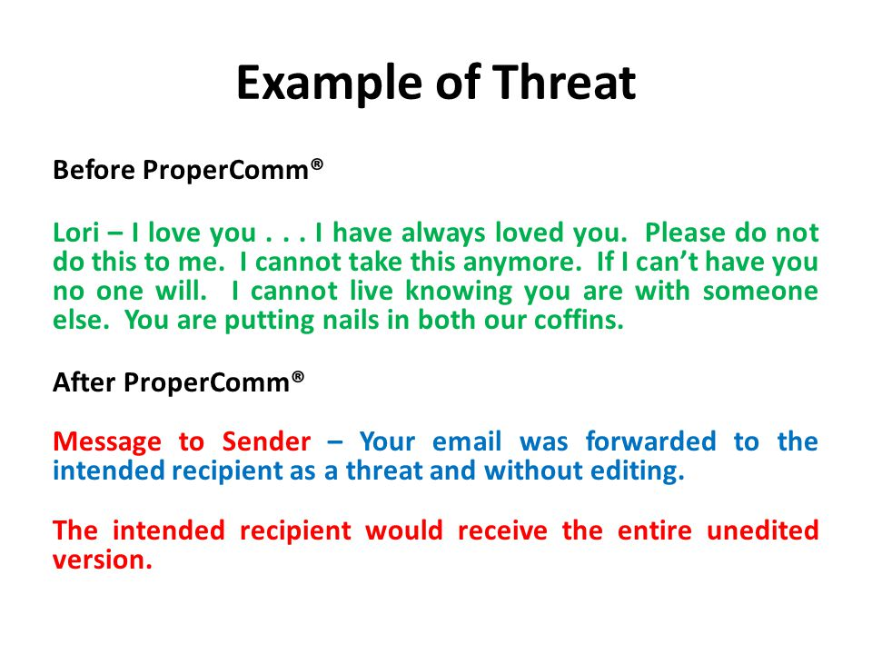 Example of Threat