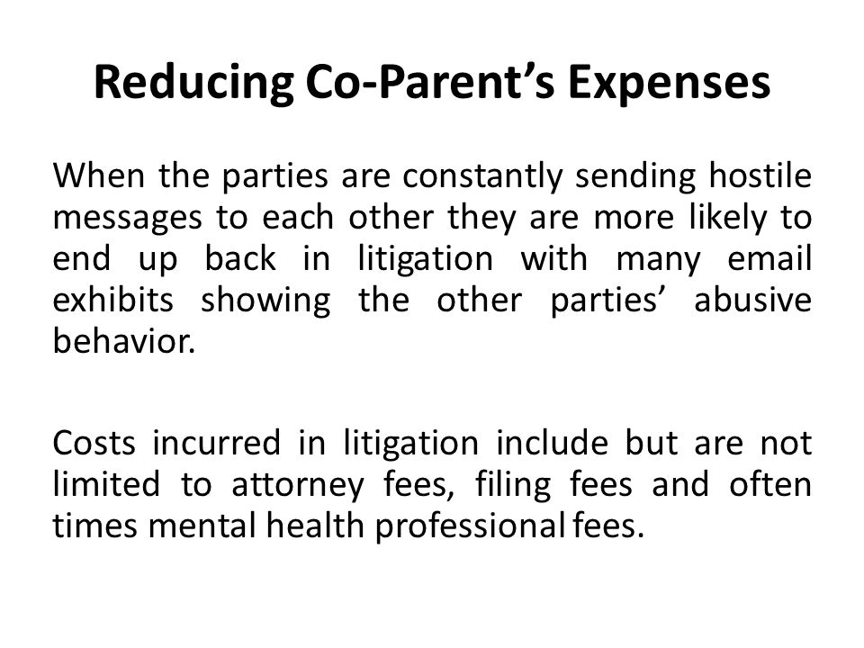 Reducing Co-Parent's Expenses