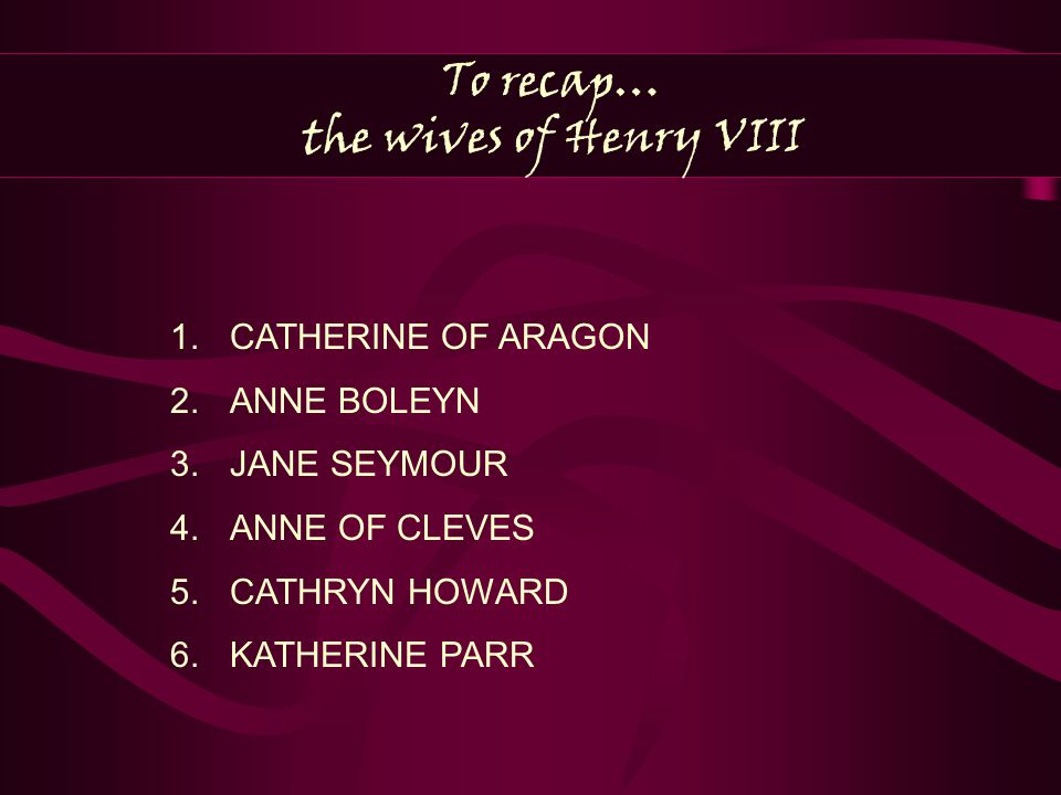 To recap… the wives of Henry VIII