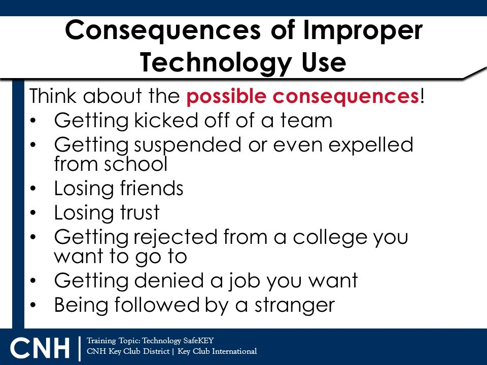 Consequences of Improper Technology Use