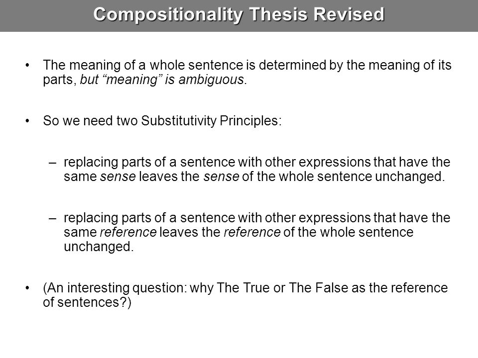 Compositionality Thesis Revised