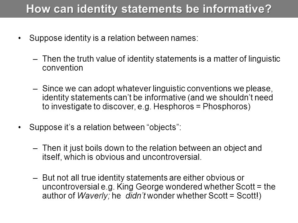 How can identity statements be informative