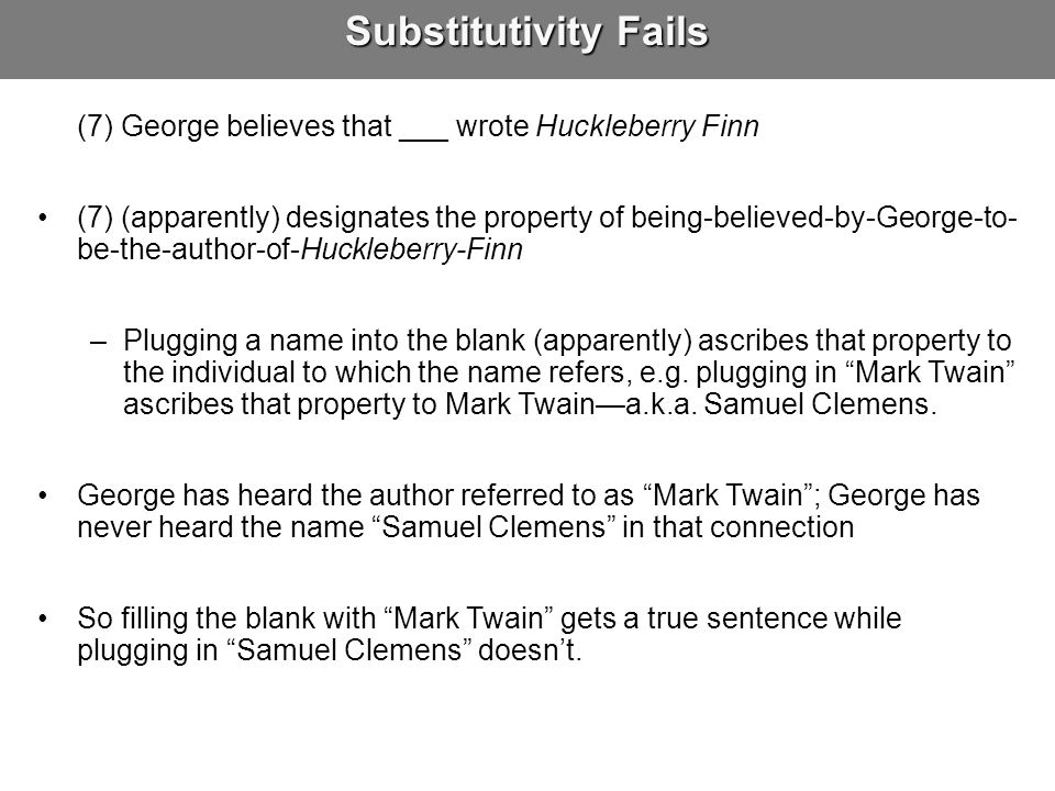Substitutivity Fails (7) George believes that ___ wrote Huckleberry Finn.