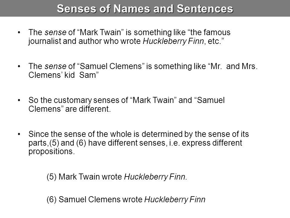 Senses of Names and Sentences