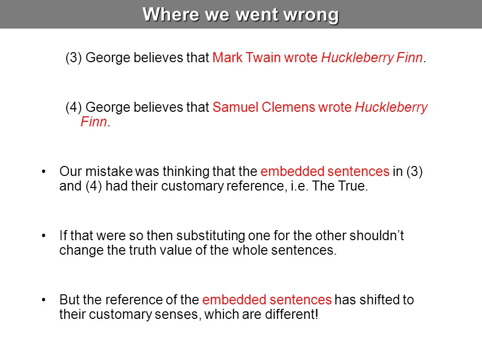 Where we went wrong (3) George believes that Mark Twain wrote Huckleberry Finn. (4) George believes that Samuel Clemens wrote Huckleberry Finn.