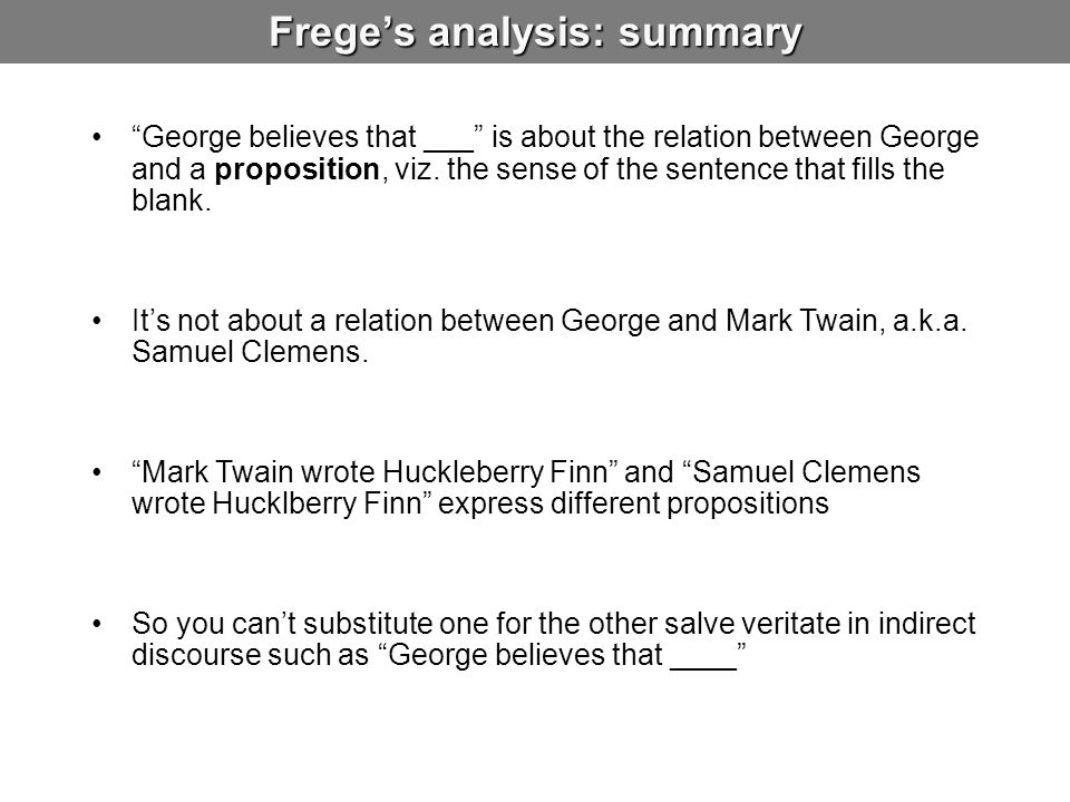 Frege's analysis: summary