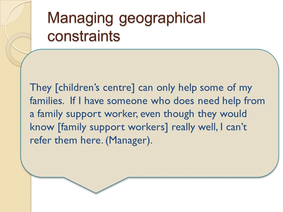Managing geographical constraints