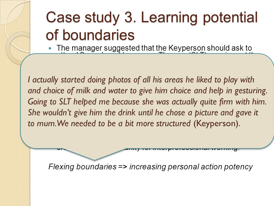Case study 3. Learning potential of boundaries