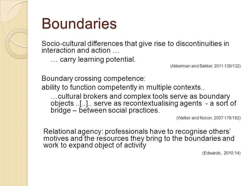 Boundaries Socio-cultural differences that give rise to discontinuities in interaction and action …