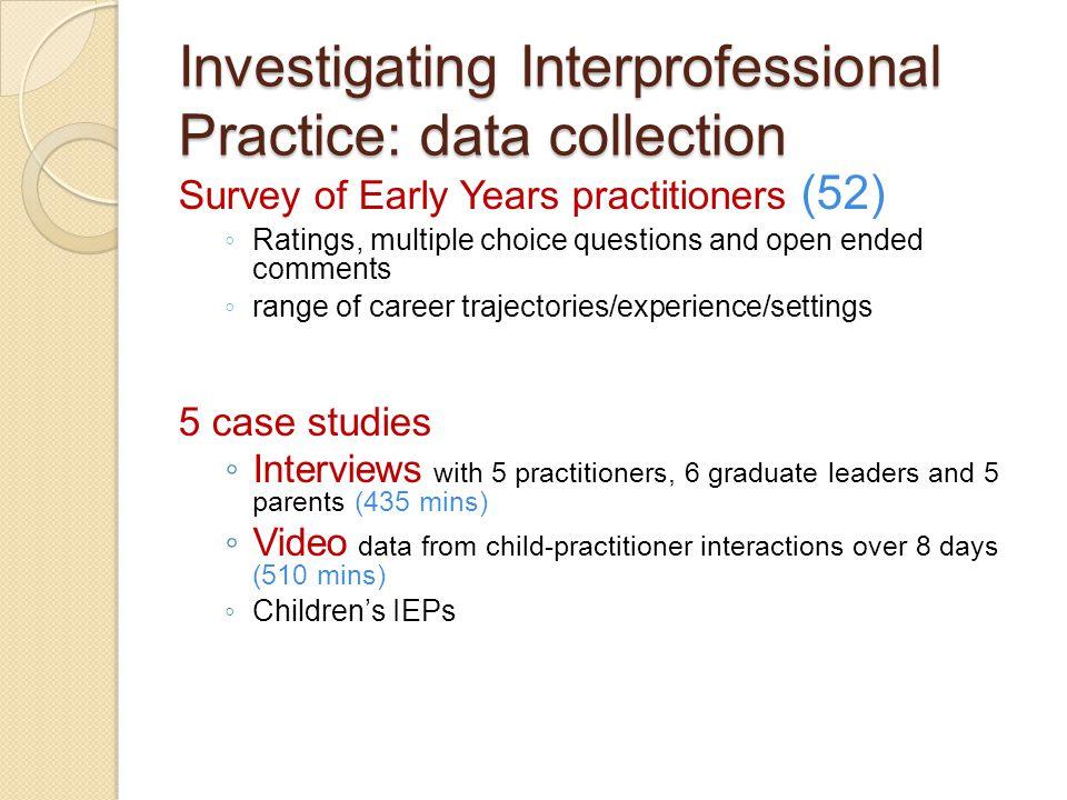 Investigating Interprofessional Practice: data collection