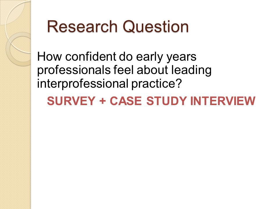 Research Question How confident do early years professionals feel about leading interprofessional practice